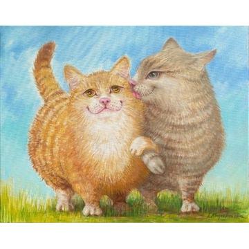 """""""Czułe pomruki"""" obraz olejny zakochane koty  :)"""