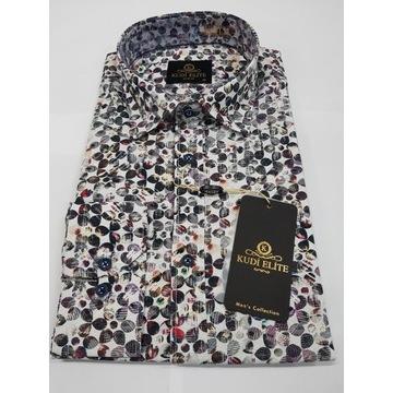Męska koszula KUDI nowa M casual Slim Fit