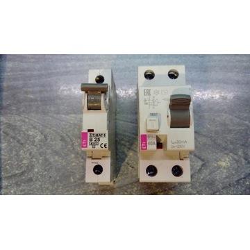 Wyłącznik różnicowo prądowy 40A i wyłącznik ES B25