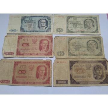 Zestaw 9 starych polskich banknotów 1948r