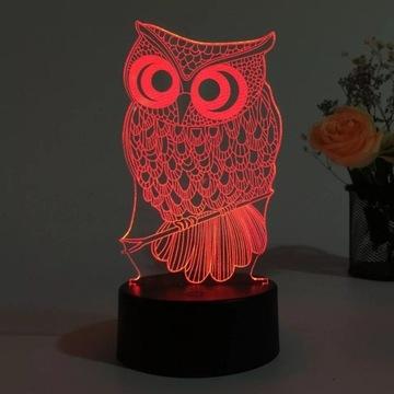 Lampka Led 3D sowa prezent GRATIS