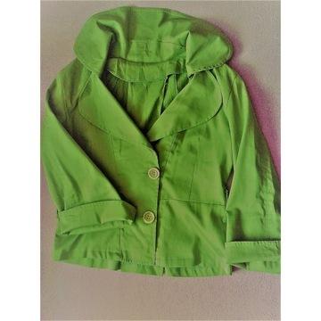 Bawełniany żakiet wdzianko S 36 zielony