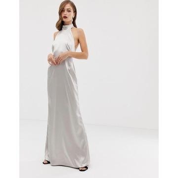 Sukienka wieczorowa, srebrna,z trenem  R-42