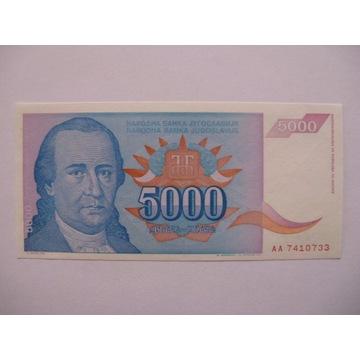 Jugosławia - 5000 Dinara - 1994 - P141 - St.1