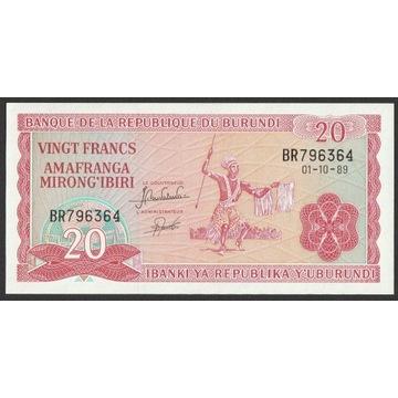 Burundi 20 franków 1989 - stan bankowy UNC