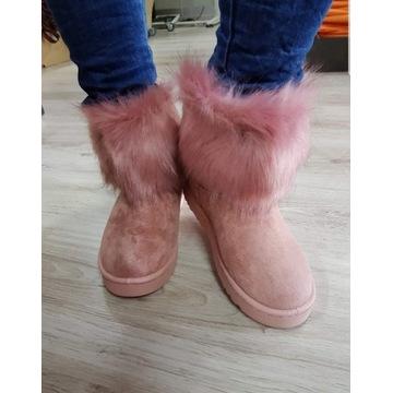 Buty EMU z futerkiem pudrowy róż