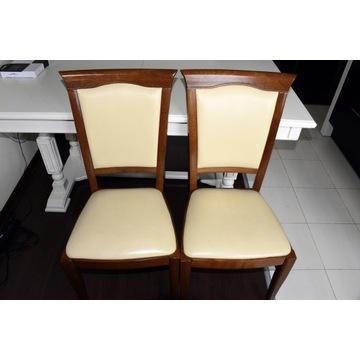 2 eleganckie krzesła z drewna bukowego, skóra