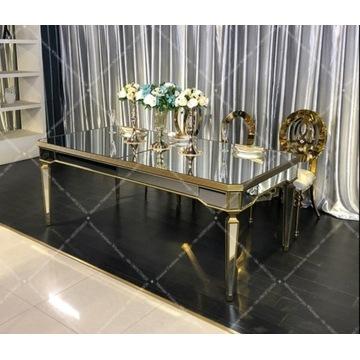 Nowoczesny stół stolik glamour loft szklany złoty