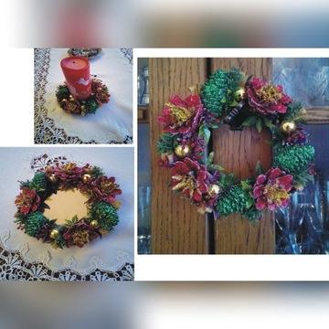 wianek świąteczny handmade Boże Narodzenie 16 cm