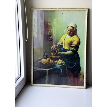 Johannes Vermeer, Mleczarka, reprodukcja w ramie
