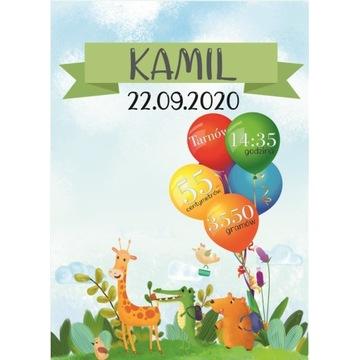 METRYCZKA dla dziecka A3 zwierzaki balony