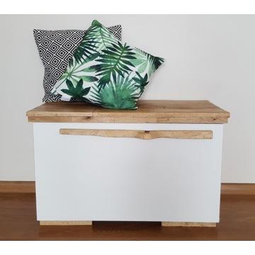 Biała szafka komoda ławka z drewnianym blatem