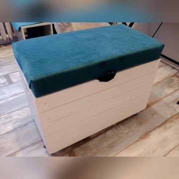 KUFER PUFA SKRZYNIA drewniana na kółkach