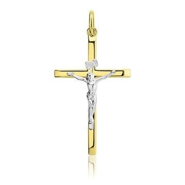 Złoty Krzyż Jezus Chrystus 14k 585 KOMUNIA !