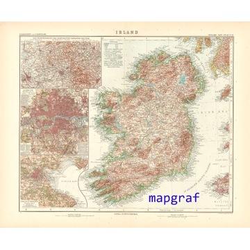 IRLANDIA oryginalna stara mapa z 1906 roku 39