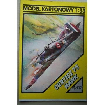 Model kartonowy samolotu CURTISS 75 HAWK