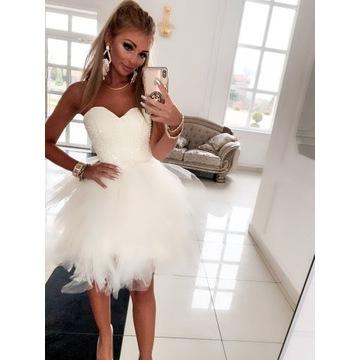 Suknia Wendy śliczna, zdobiona, lekka zwiewna, per