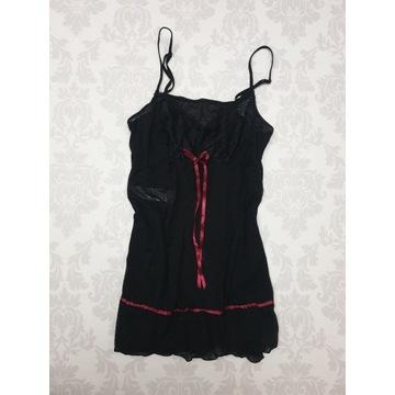 Piżamka nocna czarna bielizna S 36 koronka zwiewna