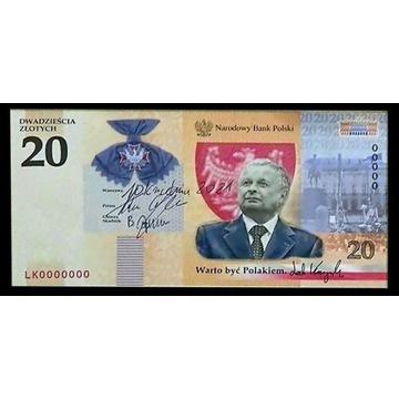 20zl Kaczyński UNC banknot przedsprzedaż