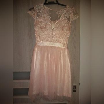 Sukienka XS na wesele pudrowy róż