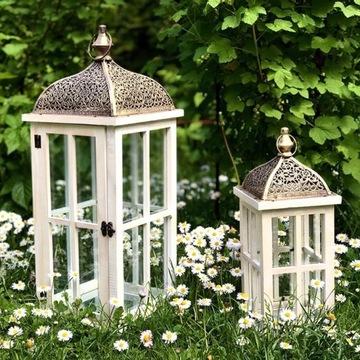 Dwa Lampiony Drewniane - Lampiony ogrodowe