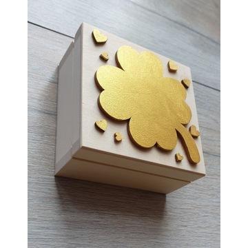 Pudełko drewniane szczęścia Prezent Komunia Chrze