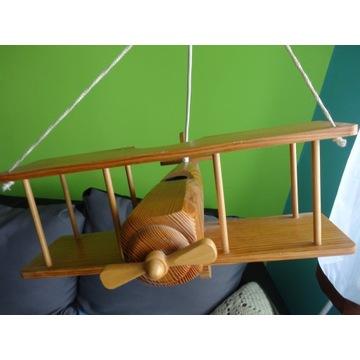 żyrandol samolot, dla dzieci, e27, drewno naturaln