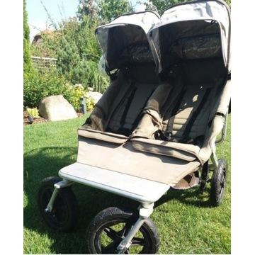 wózek easy walker bliźniaczy + śpiworki +folia