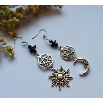 Kolczyk Sun&moon turmalin pentagram talizman witch