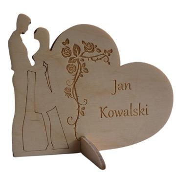 Winietka ze sklejki, drewniana, serce. Ślub Wesele
