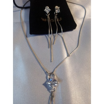 Łańcuszek krawatka i kolczyki z kamieniem srebro