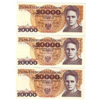 20.000 ZŁ 1989 SKŁODOWSKA SERIA AN - 3 sztuki !
