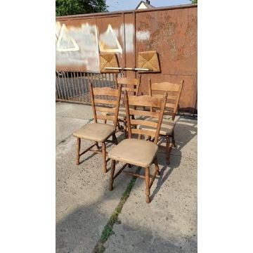 Zestaw czterech stylowych krzeseł dębowych