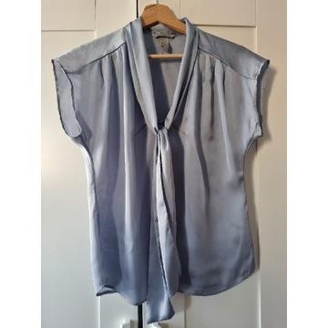 Satynowa bluzka koszulowa niebieska
