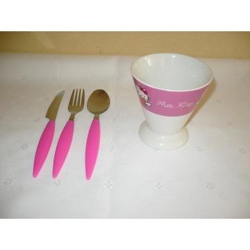 Komplet sztućców + kubek ceramiczny Hello Kitty