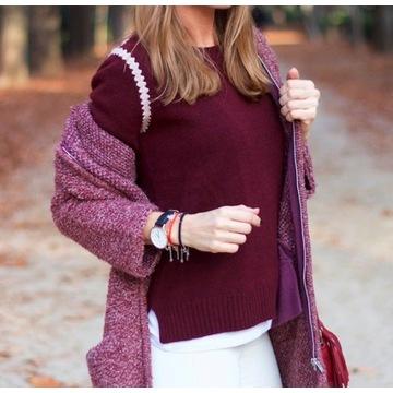 MASSIMO DUTTI__Bordowy sweter wełna + kaszmir__38