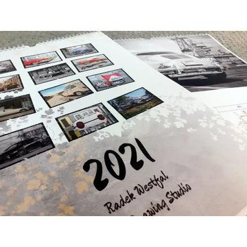 KALENDARZ ścienny 2021 - rysunki samochodów