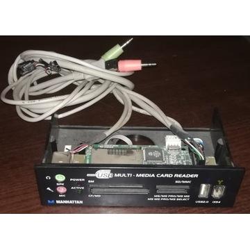 """Panel przedni 5,25"""" USB Audio Czytnik kart, Czarny"""