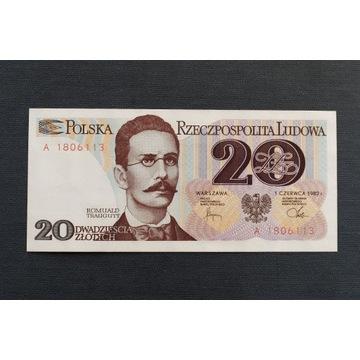 BANKNOT 20 ZŁOTYCH, PRL, 1982, SERIA A