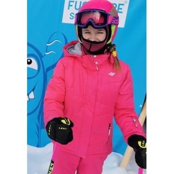 KURTKA narciarska 4 F różowa 152 cm  JKUDN001