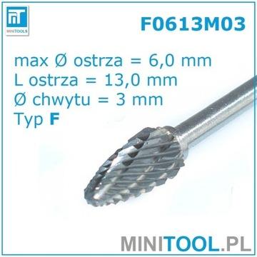 FREZ OBROTOWY PILNIK WĘGLIK Fi 6MM F0613M03 TYP F