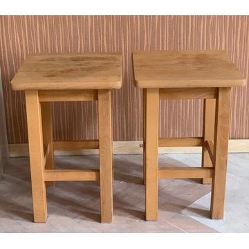 Taborety z litego drewna 2 sztuki Drewno Eko