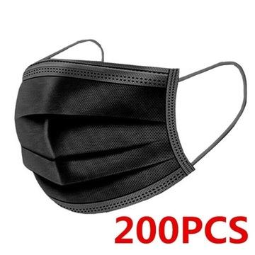 Maseczki jednorazowe czarne 50-200 sztuk, 3 warstw