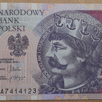 Banknot 20zł 2012 r. seria AA UNC