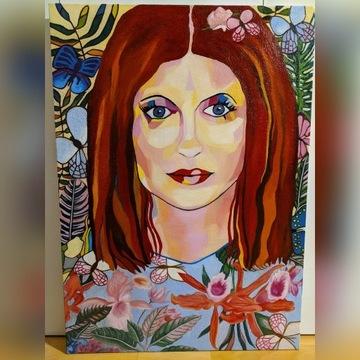 """Obraz olejny """"Dziewczyna z motylami"""" 70x50"""