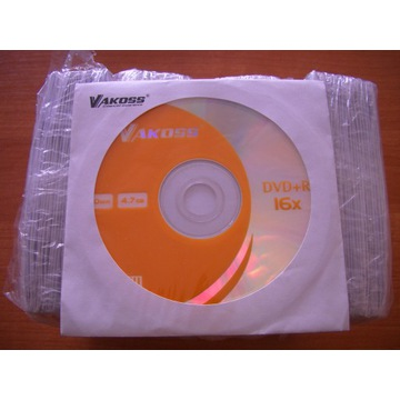 Czyste płyty DVD+R Vakoss w kopertach 100 sztuk