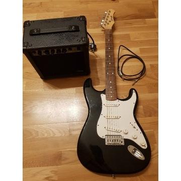 Stagg ESURF 250 BK - gitara elektryczna, zestaw