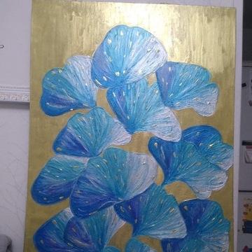 Lazurowy Miłarząb obraz ręcznie malowany 70x100