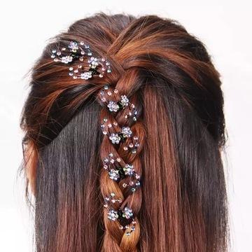 Komplet 6szt.spinek-kwiat do włosów z kryształkami