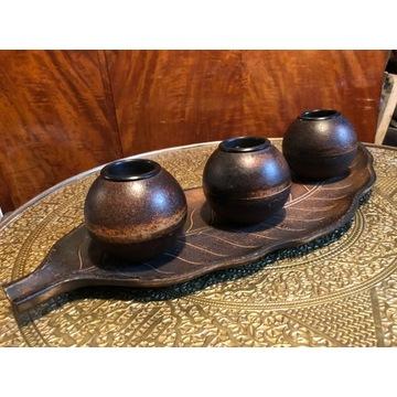 Świecznik drewniany na 3 świece, ozdoba, dekoracja